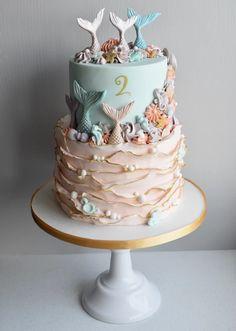Ocean Birthday Cakes, Mermaid Theme Birthday, Cute Birthday Cakes, Pirate Birthday, 5th Birthday, Celebration Cakes, Birthday Celebration, Cake Designs For Girl, Girl Birthday Decorations