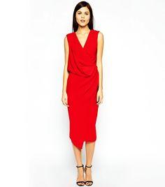 ASOS Wrap Drape Midi Dress in Red
