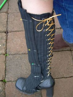 Black & White Steampunk boots with spats - Dragonfly Designs by Alisa