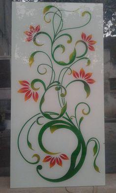 Lacquered Glass Design Glass Painting Designs, Paint Designs, Window Glass Design, Ganesha Tattoo, Pooja Room Door Design, Wardrobe Design Bedroom, Pooja Rooms, Rose Art, Mirror Door