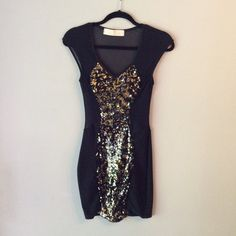NWOT Black and Gold Party Dress⭐️FLASH SALE⭐️ Gold sequined front, black see through nylon back. Solid black bottom. Form fitting and very flattering! NWOT! NO TRADES. 80% nylon 20% spandex Lulu's Dresses Mini