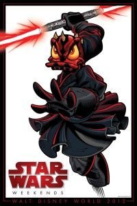 """This year's Star Wars Weekends at Disney Hollywood Studios poster features Donald Duck playing the role of Darth Maul from """"Star Wars: Episode I – The Phantom Menace."""""""
