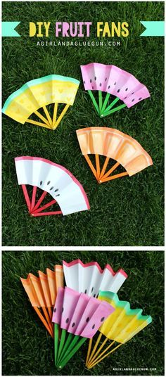 Homemade fruit fans! A cute and sunny craft for elementary kids this summer!