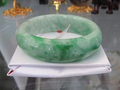 Vintage Translucent Natural Floral Green Jadeite Jade Bangle Bracelet 57.6MM by JewelryEmpire14 on Etsy