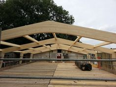 Buckland Timber glulam swimming pool structure being installed