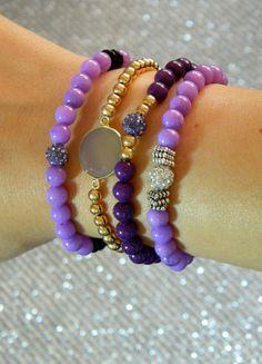Purple Beaded Bracelet Set of 4 by GasiaD on Etsy