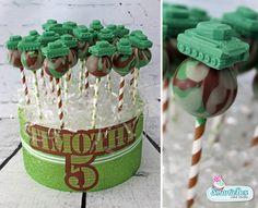 Green and brown Army tank camo Cake Pops - SmartieBox Cake Studio