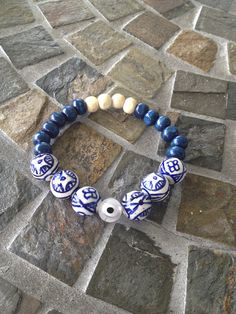 Evil eye charm beaded bracelet  on Etsy, $5.50
