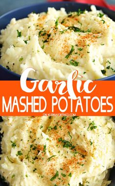 Garlic Mashed Potatoes, an easy side dish dinner recipe & perfect for all of those holiday feasts too. So delicious topped with butter or gravy. potato al horno asadas fritas recetas diet diet plan diet recipes recipes Dinner Side Dishes, Holiday Side Dishes, Potato Side Dishes, Good Side Dishes, Sides For Dinner, Easy Potato Recipes, Mashed Potato Recipes, Side Dish Recipes, Mashed Potatoes Recipe For 2