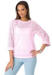 Plus Size Floral Lace Blouse