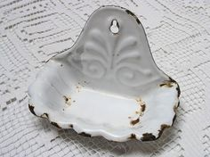soap dish shabby enamelled metal French country home by Histoires, $25.00