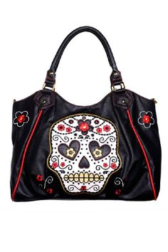 Sugar Skull olkalaukku Simili Cuir Noir, Vêtements Gothiques, Grands Sacs À  Main, Porte 1d47b9c7635