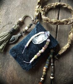 Boho tribal amulet keeper necklace with suede pouch by quisnam, $55.00