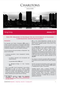 Hong Kong Law Newsletter - 18 January 2017 - New SFC Measures to Increase the Accountability of Licensed Corporations' Senior Management