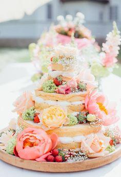 Summer wedding cake with pink peonies   Tanja Schalling