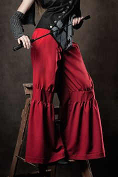 Essex Pants - Drop waist pants with gathered front knee sections and mock leather waist straps. Pants have two front and back pockets and a wide waistband. #fashion #womens #pants