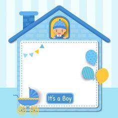 Baby Shower Frame, Baby Shower Cards, Baby Boy Shower, Kids Background, Cute House, Baby Album, Baby Design, Little Boys, Invitation Cards
