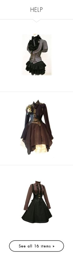 """""""HELP"""" by neverland-is-just-a-dream-away ❤ liked on Polyvore featuring dresses, shirts, steampunk, short dresses, costume, victorian, lolita, costumes, victorian costumes and goth halloween costumes"""