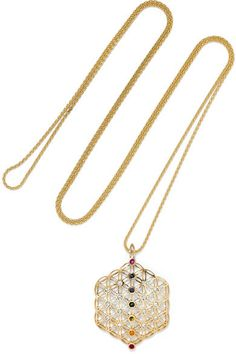 Oh how I love this Noor Fares - Chakra Amulet 18-karat Gold Multi-stone Necklace