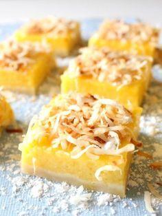 Mango Lemon Bars with Toasted Coconut | www.chocolatewithgrace.com | #mango #lemon #bars #recipe