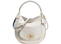 Coach Circle Hobo in Pop Lacing Whiplash Leather Handbag Chalk/Denim