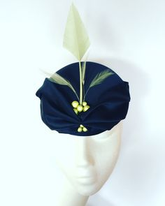 Navy base with draped fabric, lime green quill, feather and beading. Small hat perfect for a wedding guest or day at the races. Navy Base, Draped Fabric, Race Day, Quilling, Beading, Feather, Lime, Hat, Button