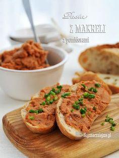 Pomidorowa pasta z makreli Salmon Burgers, Baked Potato, Potatoes, Pasta, Meat, Chicken, Baking, Breakfast, Ethnic Recipes