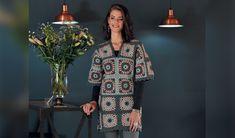 Die snoesige blokjurk kan in 'n japtrap gehekel word Chrochet, Crochet Clothes, Free Pattern, Crochet Patterns, Afrikaans, Wool, Dresses, Clothing, Fashion