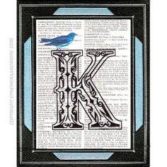 Alphabeth LETTER K on vintage dictionary book page, blue bird, black white, Victorian ornate letter, initial monogram K, wall art decor, 6x9