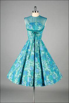 Vintage 1950s Dress JANE PARKER Aqua by millstreetvintage, $235.00