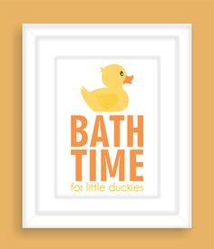 Bathroom Art Print For Children   Bath Time Rubber Duck   Nursery Wall Art,  Kids Bathroom Decor