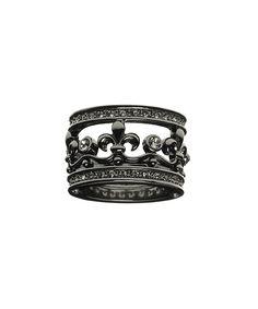 Gunpowder Silvertone & Crystal Fleur-de-Lis Ring