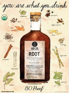 "Based on an recipe for an herbal root tea remedy made with sassafras, sarsaparilla and birch bark. A Philadelphia pharmacist removed the alcohol from the drink and renamed it ""Root Beer. Fun Cocktails, Cocktail Drinks, Temperance Movement, Art In The Age, Spiritus, Wild Edibles, Tea Recipes, Kombucha, Root Beer"