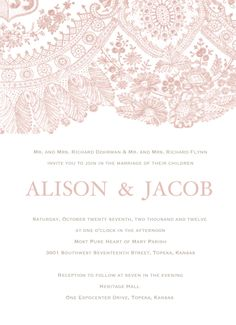Blush Lace Wedding Invitation - Clean & Simple Wedding Invite. $1.28, via Etsy.