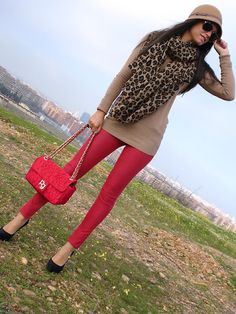 Red pants, camel top