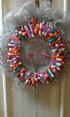 Wreath, made out of perm rods that we never use anymore.