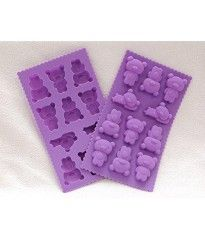 Yunko W0642 Set of 2 DIY Silicone Mold Tray 11-cavities Adorable Cute Little Bear Shape Chocolate Sugar Ice Cake Candy Baking Mold Decorating Silicone Cube Craft Fondant Mold Tray Clay Mold Soap Making Mold(colour By Random)