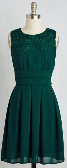 embroidered deep emerald dress