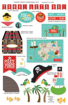 Yo Ho!  Let's Go!  A pirate party by Lia Griffith  {printables available in her Etsy shop...free party invitation, envelope liner and thank you postcard will be posted on her blog}