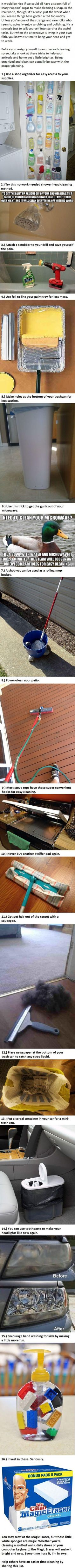 These 16 Hacks Make Cleaning Your House Less Of A Chore.  -   Misc