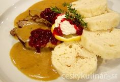 in honour of my czech heritage, my all time favourite, Svíčková (marinated beef sirloin in a cream sauce served with bread dumplings, lemon wedge/slice and cranberry sauce)