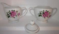 3 piece Cream & Sugar cottage shabby Pink