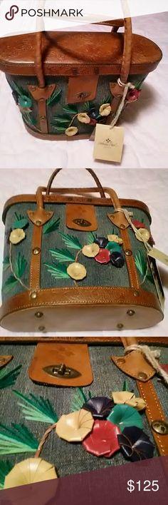 Patricia Nash handbag Italian leather denim with yarn .Just a beautiful bag . Patricia Nash Bags Satchels