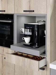 Kaffeemaschine im Schrank integrieren - Schrank ideen Integrating the coffee machine in the cabinet Studio Kitchen, New Kitchen, Kitchen Decor, Kitchen Pantry Cabinets, Kitchen Storage, Kitchen Appliances, Pantry Design, Cabinet Design, Küchen Design