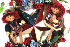 Raggedy Ann & Andy Dolls Patriotic Americana July 4th Floral Wreath - Free USA Shipping. $169.95, via Etsy.