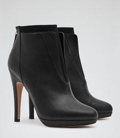 Womens Black Leather Ankle Boots - Reiss Sawyer