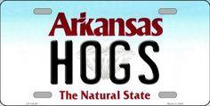 Hogs Arkansas Background Novelty Metal License Plate