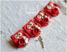 Red owl broch, flower owls, broch owl, polymer clay owl by Zubiju on Etsy