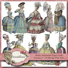 Marie Antoinette paper dolls for decor.
