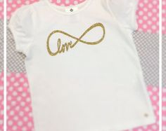 Love Infinity Symbol Toddler Girl White Tee Shirt Glitter Heat Transfer Birthday Christmas Gift Photo Prop Modern Kids Clothes Puff Sleeve